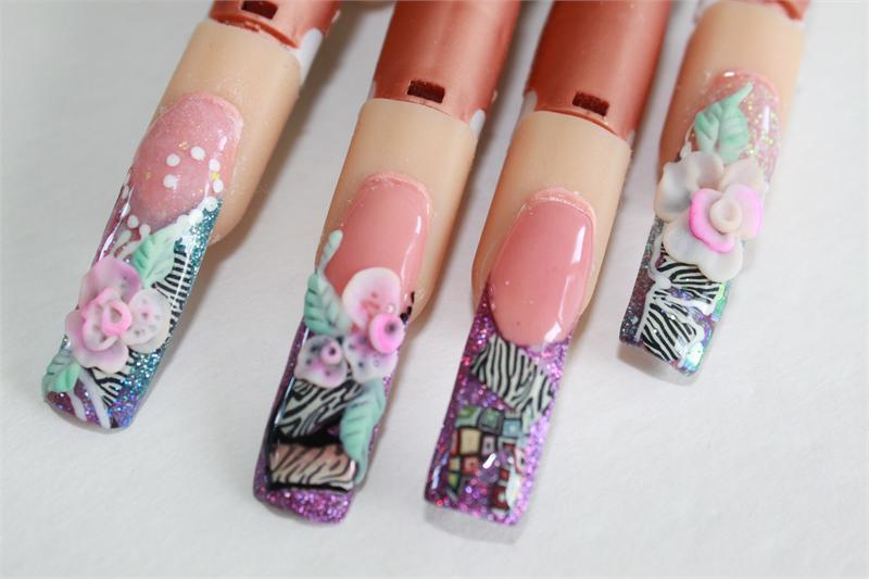Fimo inlay nail art animal print 4 prinsesfo Images