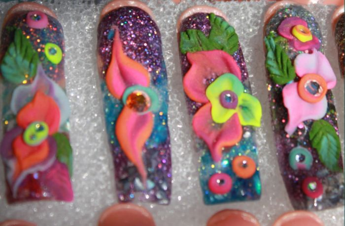 Color Nail Art Acrylics and Glitters-Neon Color