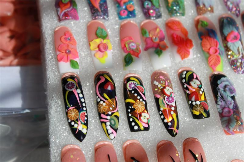 Color Nail Art Acrylics And Glitters Neon Color